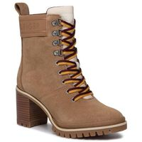 Tommy hilfiger Botki - sporty outdoor mid heel lace up fw0fw04341 tabacco brown ge4