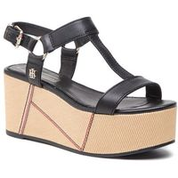 Sandały TOMMY HILFIGER - Elevated Leather Flatform Sandal FW0FW03944 Black 990, kolor czarny