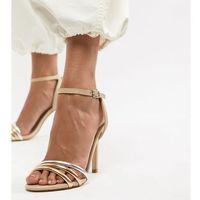 Aldo strap leather heeled sandal - beige