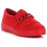 Stylowe buty damskie mokasyny z frędzlami marki czerwone (kolory), Lady glory