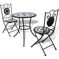 vidaXL Stolik i 2 krzesła z mozaiką czarno-białą