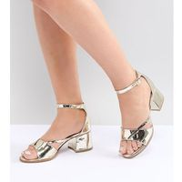 Lost Ink Wide Fit Rose Gold Block Heeled Sandals - Gold