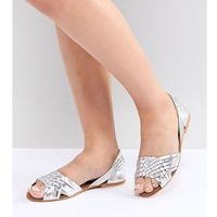 juna wide fit leather summer shoes - silver, Asos design