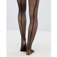 Pretty Polly Heart Back Seam Tights - Black
