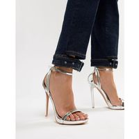 Lost Ink Lara Silver Stilleto Heeled Sandals - Silver, kolor szary