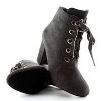 Botki na szerokim obcasie szare grey marki Buty obuwie damskie