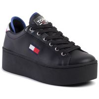 Sneakersy TOMMY JEANS - Flatform Tommy Jeans Sneaker EN0EN00718 Black BDS, kolor czarny