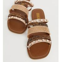 River Island sandals with embellished straps in rose gold - Gold
