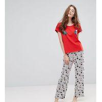 christmas tree print top stripe pyjama set - red, Monki