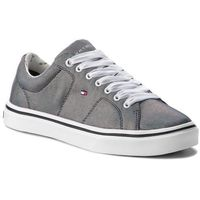 Sneakersy TOMMY HILFIGER - Metallic Light Weight Lace Up FW0FW03028 Midnight 403, kolor szary