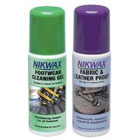 Zestaw NIKWAX 2x125ml/ żel czyszczący z gąbką + impregnat spray-on atomizer do obuwia tkanina i skóra (5020716792001)