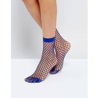 ASOS Oversized Fishnet Ankle Socks In Blue - Blue, kolor niebieski