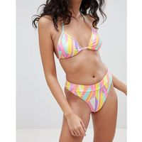 graphic print high leg bikini brief - orange, Boohoo