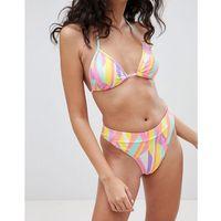 graphic print high leg bikini brief - orange marki Boohoo