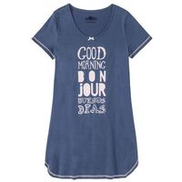 Koszula nocna, bawełna organiczna bonprix niebieski dżins - bladoróżowy, kolor niebieski