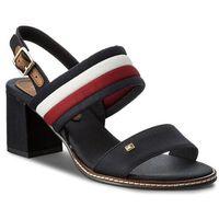 Sandały TOMMY HILFIGER - Casual Mid Heel Sandal FW0FW02428 Rwb 020, kolor niebieski