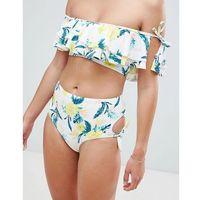 New look floral bardot bikini top - yellow