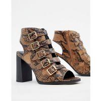 buckle detail snake heeled sandal - brown marki New look