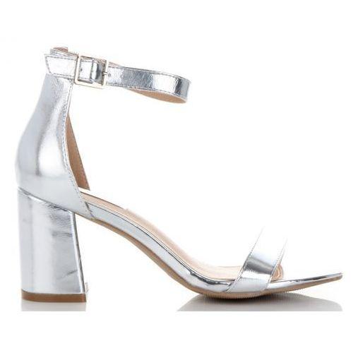 Eleganckie buty damskie sandały na szerokim obcasie marki bellucci złote (kolory), Belluci