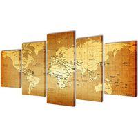 vidaXL Zestaw obrazów Canvas 200 x 100 cm Mapa Świata (8718475903451)