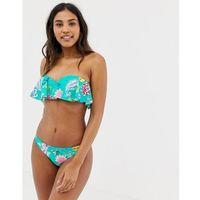 Seafolly Water Garden frill bustier bandeau bikini top in multi - Multi