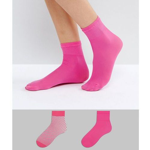 ASOS 2 Pack Sheer & Fishnet Ankle Socks in Magenta - Pink, kolor różowy
