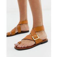 Office Serenity tan leather flat toe loop sandals - Tan