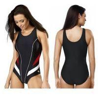 GWINNER Strój kąpielowy damski jednoczęściowy (czarny/czerwony/biały) (GW10116/1), jednoczęściowy