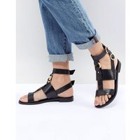 Office Shadow Black Leather Sandals - Black, kolor czarny