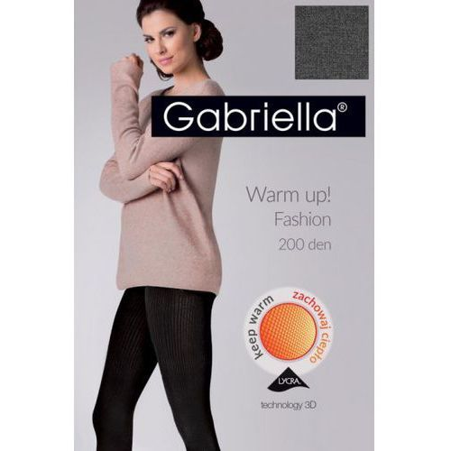 Gabriella 412 warm up fashion 200 den melange rajstopy, kolor czarny