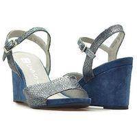 Sandały Nessi 17150 Granatowe zamsz, kolor niebieski