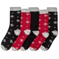 Skarpetki bożonarodzeniowe (5 par) bonprix czarno-ciemnoczerwony wzorzysty, kolor czarny