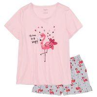 Piżama z krótkimi spodenkami jasnoróżowo-jasnoszary melanż z nadrukiem, Bonprix