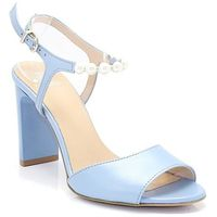 Kordel 1692 niebieskie - sandałki z perełkami - niebieski