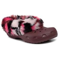 Kapcie CROCS - Classic Mammoth So Luxe Clog 205841 Burgundy/Multi, kolor czerwony