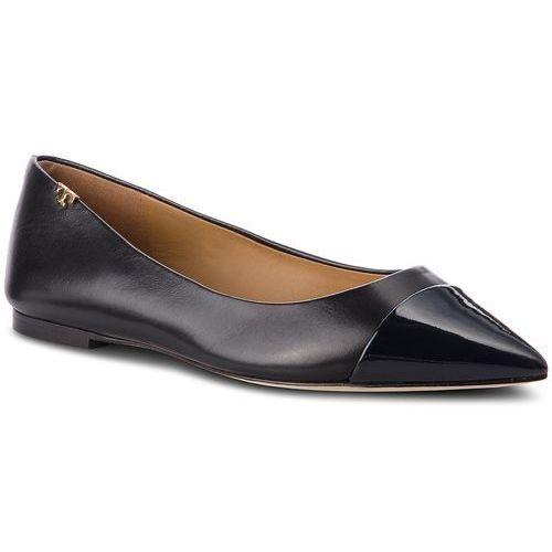 Baleriny TORY BURCH - Penelope Cap Toe Flat 51968 Perfect Black/Perfect Navy 014, kolor czarny