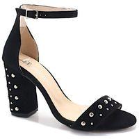 254/a czarny zamsz- sandały z ćwiekami - czarny, Tymoteo