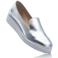 Bonprix Buty skórzane wsuwane srebrny