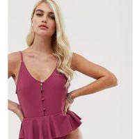 Boohoo button through swimsuit with frill peplum hem in dark rose - Pink