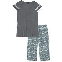Piżama ze spodniami 3/4 pastelowy miętowy - dymny szary z nadrukiem, Bonprix, S-M
