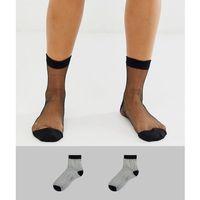 Asos design 2 pack sheer black ankle socks - black
