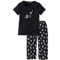 Piżama bonprix czarno-biały, kolor czarny