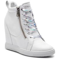 Sneakersy TOMMY HILFIGER - Iridescent Dress Sneaker FW0FW03921 White 100, kolor biały