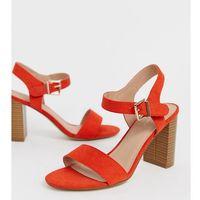 New Look wide fit block heel buckle detail sandal in orange - Orange