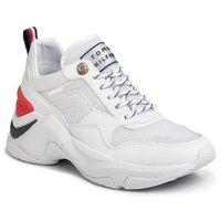 Sneakersy TOMMY HILFIGER - Internal Wedge Sporty Sneaker FW0FW04704 White YBS, kolor biały