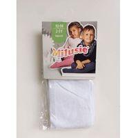 Rajstopy bawełniane gładkie - białe - rozmiar 56/62 - marki Milusie