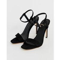 Truffle collection stiletto barely there square toe heeled sandals - black