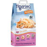 Tigerino nuggies zbrylający żwirek dla kota o zapachu pudru, gruboziarnisty - 14 l