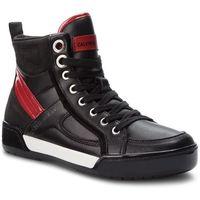 Calvin klein Sneakersy jeans - nikole r0806 black/black/scarlet