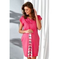 Bawełniana koszula nocna damska Dn-nightwear TCB.9703 koralowa, kolor czerwony